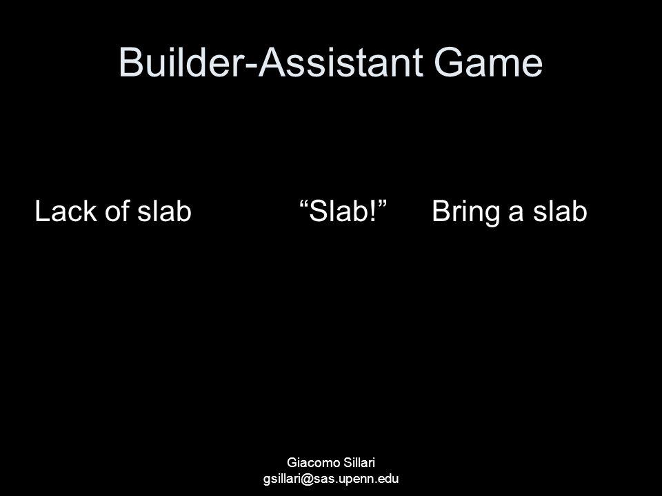 Builder-Assistant Game StateSignalAction Lack of slab Slab! Bring a slab Giacomo Sillari gsillari@sas.upenn.edu