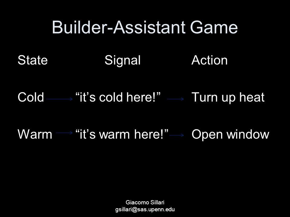Builder-Assistant Game StateSignalAction Cold it's cold here! Turn up heat Warm it's warm here! Open window Giacomo Sillari gsillari@sas.upenn.edu