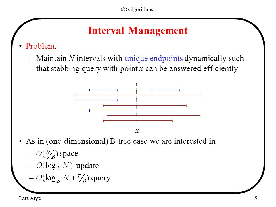 Lars Arge I/O-algorithms 5 Problem: –Maintain N intervals with unique endpoints dynamically such that stabbing query with point x can be answered efficiently As in (one-dimensional) B-tree case we are interested in – space – update – query Interval Management x
