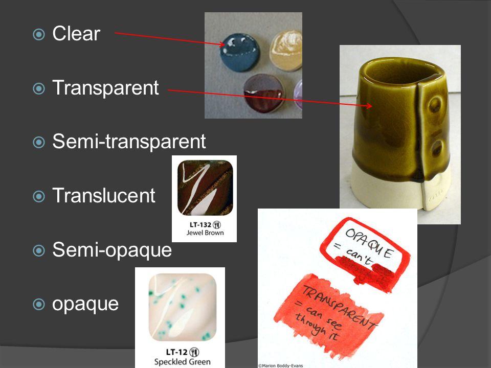  Clear  Transparent  Semi-transparent  Translucent  Semi-opaque  opaque
