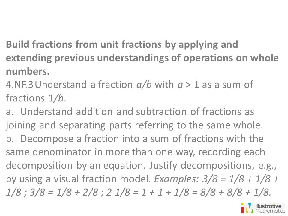 Build fractions from unit fractions by applying and extending previous understandings of operations on whole numbers. 4.NF.3Understand a fraction a/b