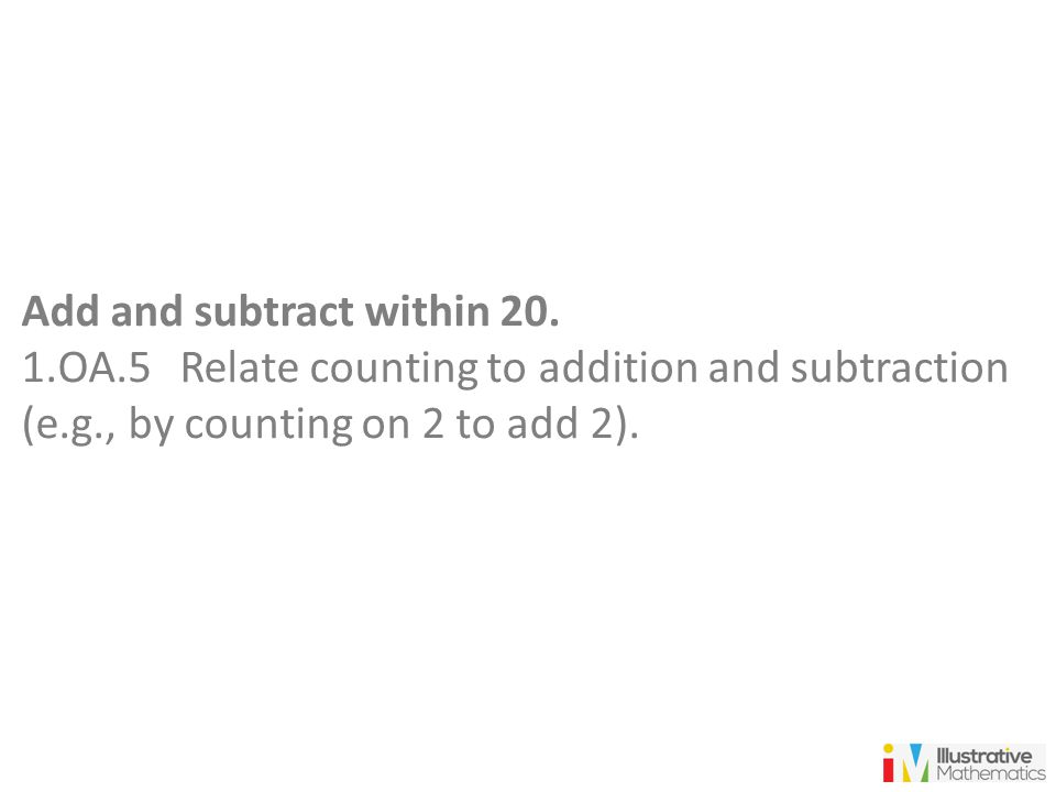 Add and subtract within 20. 1.OA.5Relate counting to addition and subtraction (e.g., by counting on 2 to add 2).