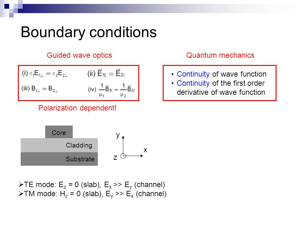 Boundary conditions Guided wave opticsQuantum mechanics Continuity of wave function Continuity of the first order derivative of wave function Polariza