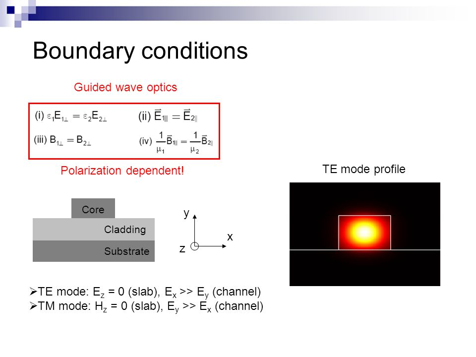 Boundary conditions TE mode profile Polarization dependent! x z Cladding Core Substrate y  TE mode: E z = 0 (slab), E x >> E y (channel)  TM mode: H