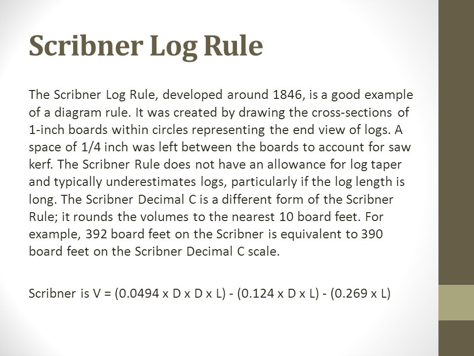 Scribner Log Rule The Scribner Log Rule, developed around 1846, is a good example of a diagram rule. It was created by drawing the cross-sections of 1