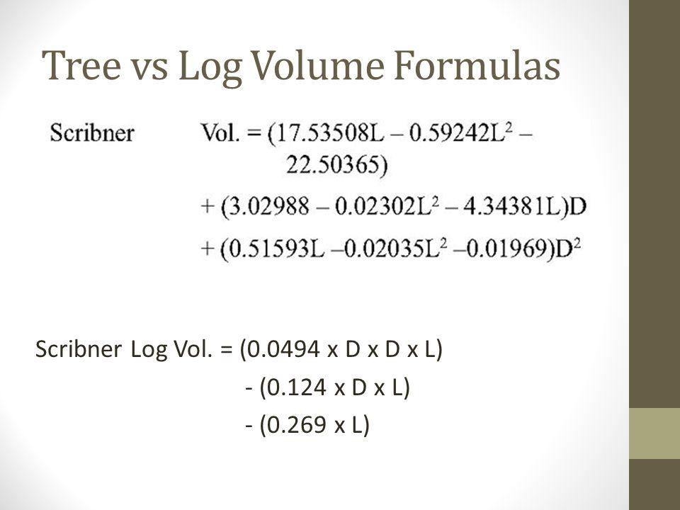 Tree vs Log Volume Formulas Scribner Log Vol. = (0.0494 x D x D x L) - (0.124 x D x L) - (0.269 x L)
