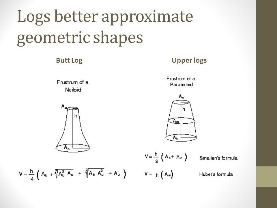 Logs better approximate geometric shapes Butt LogUpper logs