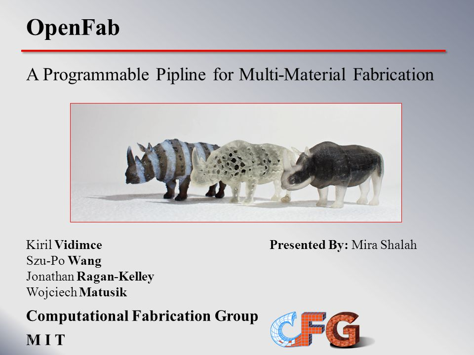 fablet MagicPostcard { @uniform { float2 border; float textureDepth, maxThickness; ImageTexture2D fg, bg; Material white, black; } const int CARD_FRONT = 0, CARD_BACK = 1; @surface(@varying { SurfaceAttributes attr; float2 uv, int face; out float2 uvOut, out int faceOut; }) { // pass through attributes uvOut = uv; faceOut = face; if (face == CARD_BACK) { // back face float L = bg.Sample1(uv[0], uv[1], 0); float thickness; if (uv[0] 1 – border[0] || uv[1] 1 – border[1]) { thickness = maxThickness; } else { // material approximation: transmission // has quadratic falloff with thickness thickness = sqrt(1 – L) * maxThickness; } 41
