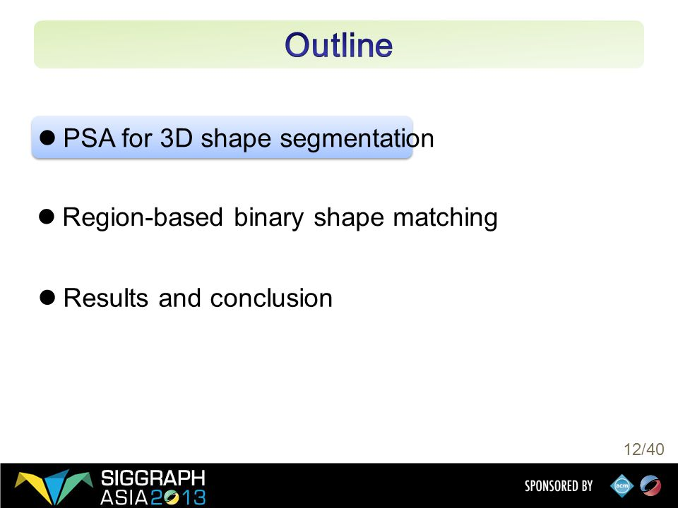 12/40 PSA for 3D shape segmentation Region-based binary shape matching Results and conclusion