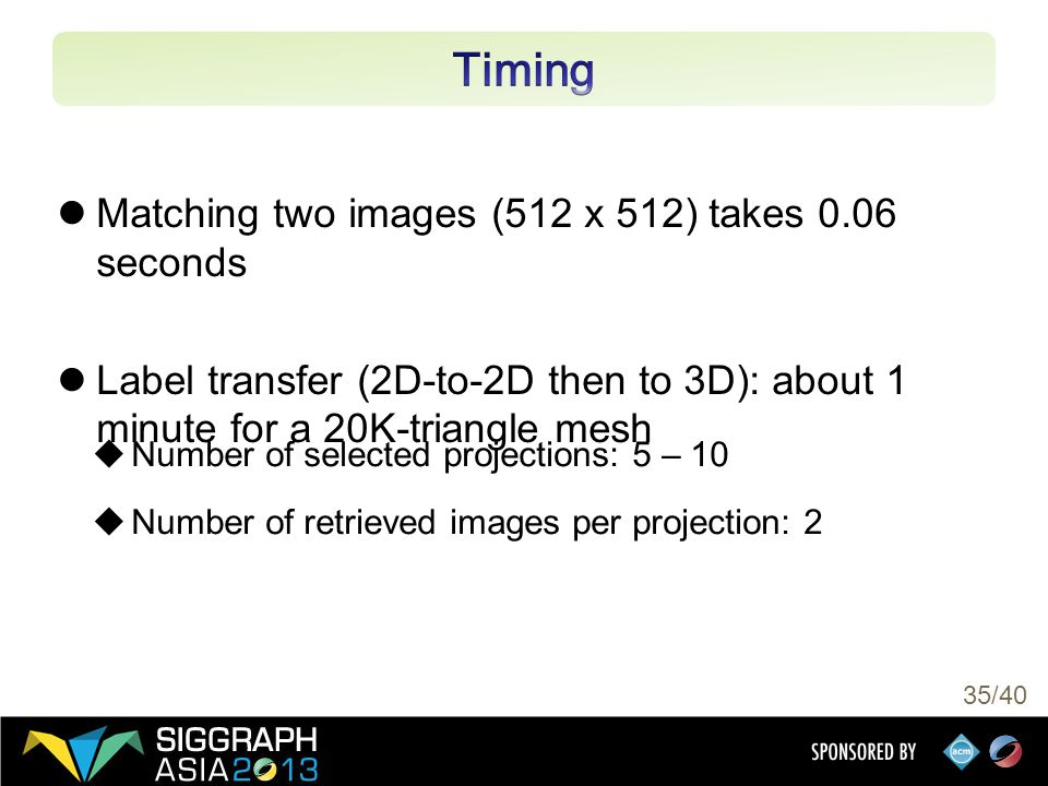 35/40 Matching two images (512 x 512) takes 0.06 seconds Label transfer (2D-to-2D then to 3D): about 1 minute for a 20K-triangle mesh  Number of selected projections: 5 – 10  Number of retrieved images per projection: 2