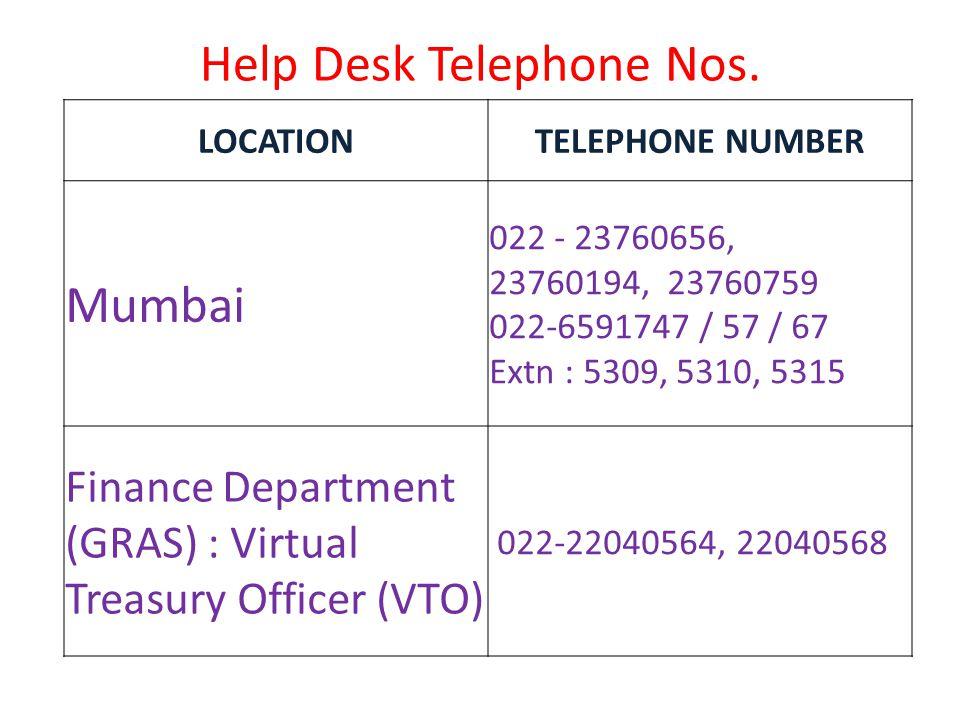 Help Desk Telephone Nos. LOCATIONTELEPHONE NUMBER Mumbai 022 - 23760656, 23760194, 23760759 022-6591747 / 57 / 67 Extn : 5309, 5310, 5315 Finance Depa