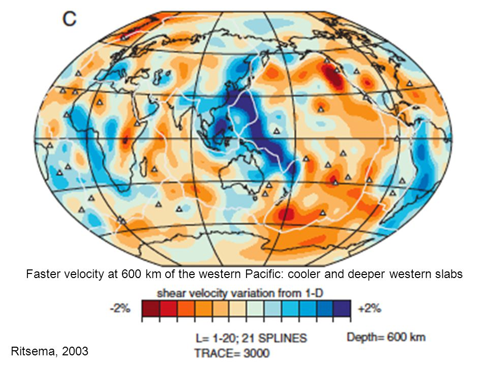 Ritsema, 2003 Faster velocity at 600 km of the western Pacific: cooler and deeper western slabs