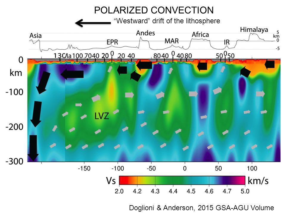 Westward drift of the lithosphere Doglioni & Anderson, 2015 GSA-AGU Volume POLARIZED CONVECTION