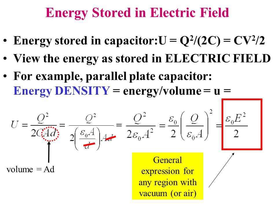Energy Stored in Electric Field Energy stored in capacitor:U = Q 2 /(2C) = CV 2 /2 View the energy as stored in ELECTRIC FIELD For example, parallel p