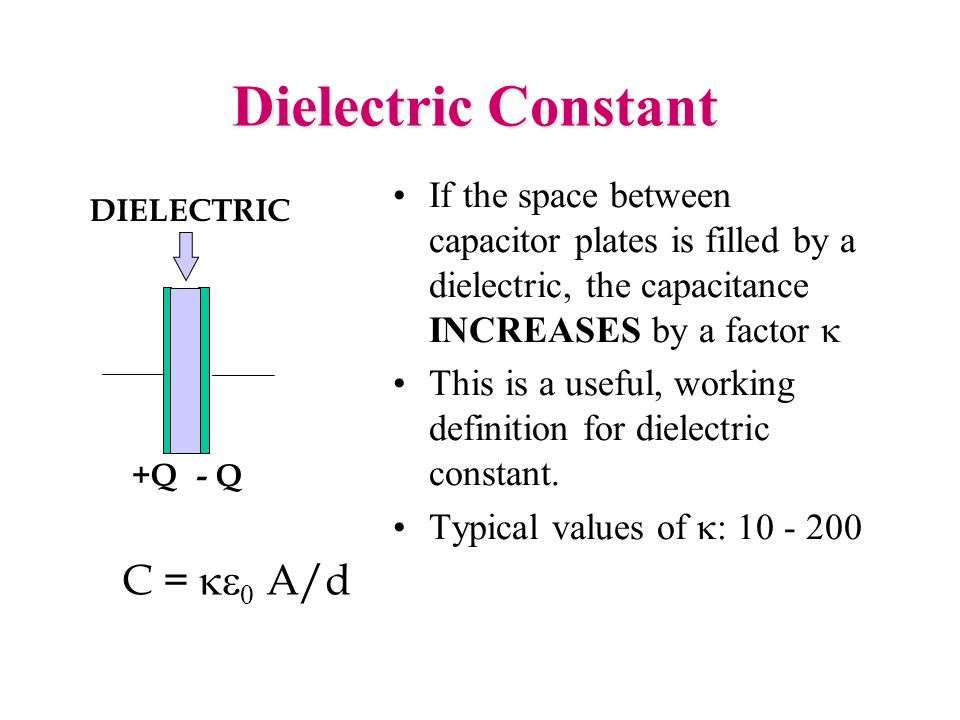 Dielectric Constant If the space between capacitor plates is filled by a dielectric, the capacitance INCREASES by a factor  This is a useful, working