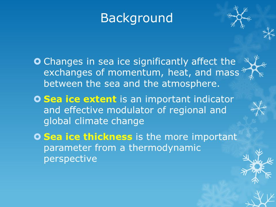 Background  Changes in sea ice significantly affect the exchanges of momentum, heat, and mass between the sea and the atmosphere.  Sea ice extent is