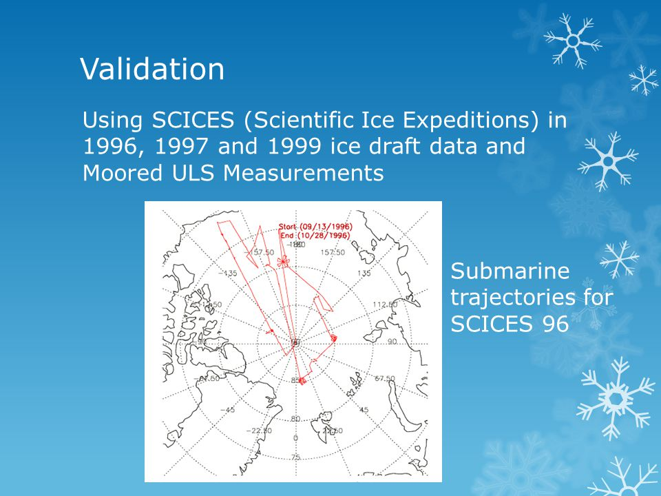 Validation Using SCICES (Scientific Ice Expeditions) in 1996, 1997 and 1999 ice draft data and Moored ULS Measurements Submarine trajectories for SCIC