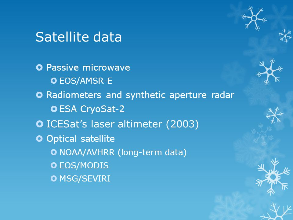Optical satellites  Advantages of optical satellite data  Long-term data: TIROS series since 1962  Continuous observation  High spatial resolution: 1km  High temporal resolution  Large observation network  Problem: only detect surface layer  Can a model be developed based on ice surface energy budget to estimate sea and lake ice thickness with optical satellite data?