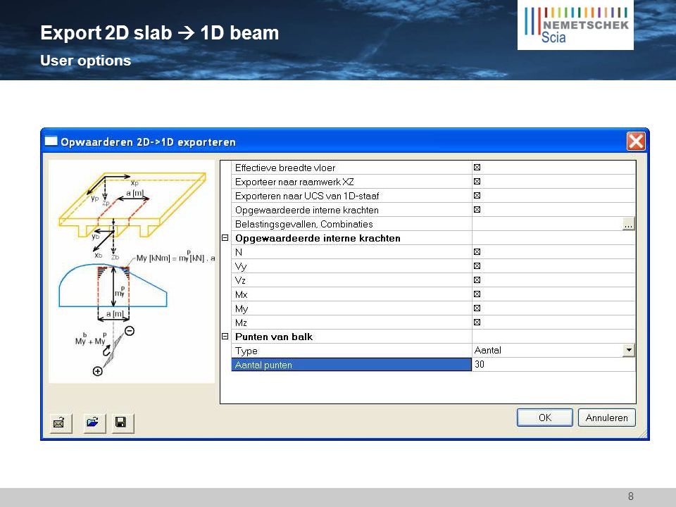 8 Export 2D slab  1D beam User options