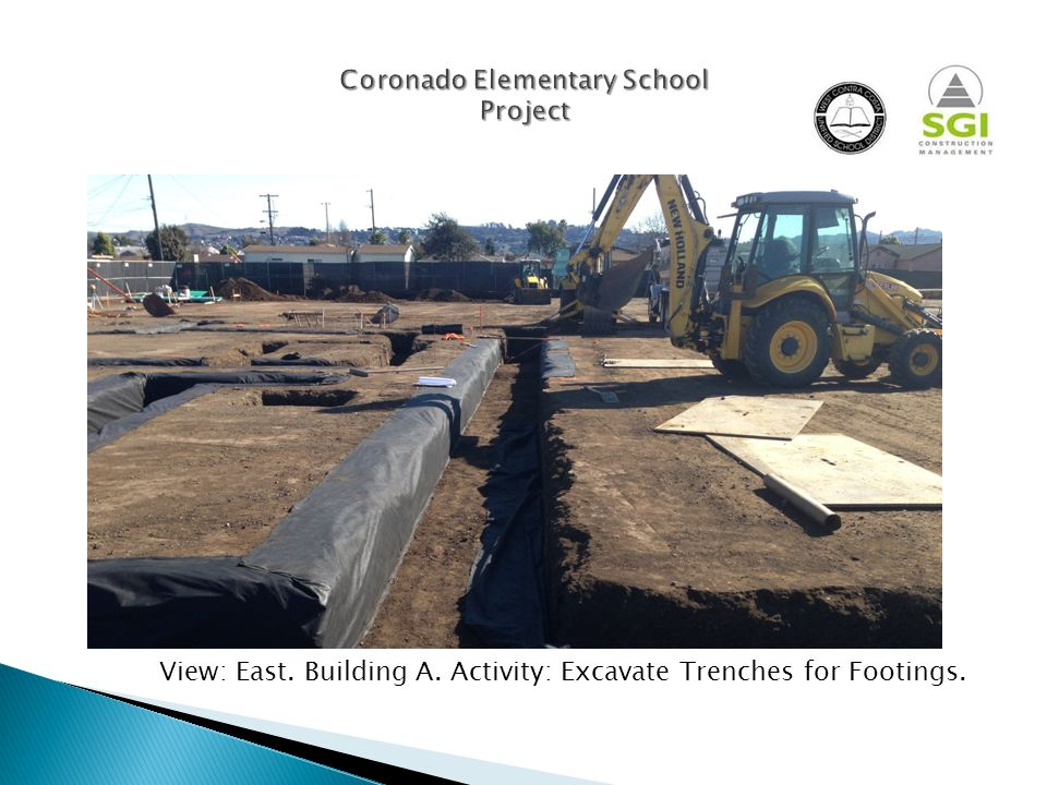 View : East. Building A. Activity : Excavate Trenches for Footings.