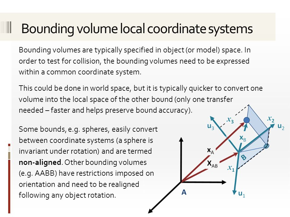 Bounding volumes are typically specified in object (or model) space.