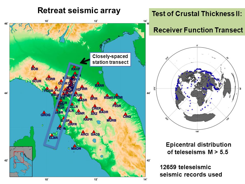 Retreat seismic array Epicentral distribution of teleseisms M > 5.5 12659 teleseismic seismic records used Closely-spaced station transect Test of Cru