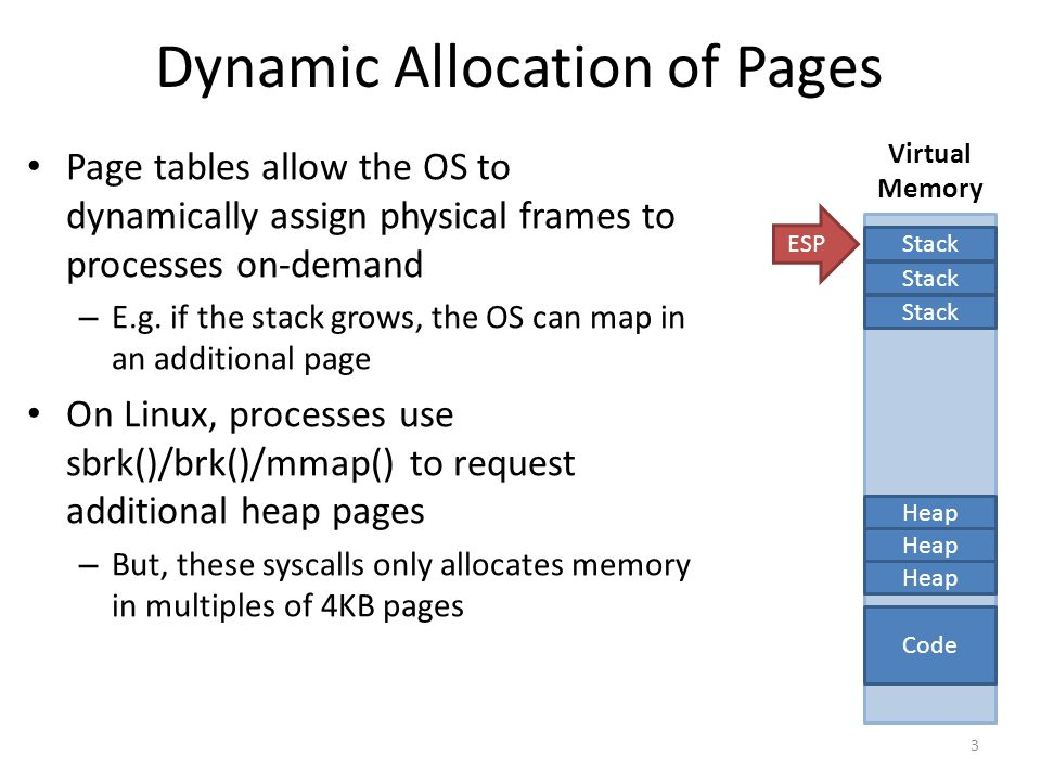 Dynamic Allocation of Pages Page tables allow the OS to dynamically assign physical frames to processes on-demand – E.g.