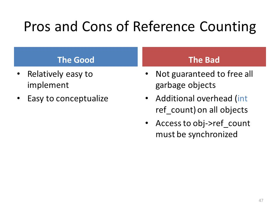 Pros and Cons of Reference Counting The Good Relatively easy to implement Easy to conceptualize The Bad Not guaranteed to free all garbage objects Additional overhead (int ref_count) on all objects Access to obj->ref_count must be synchronized 47