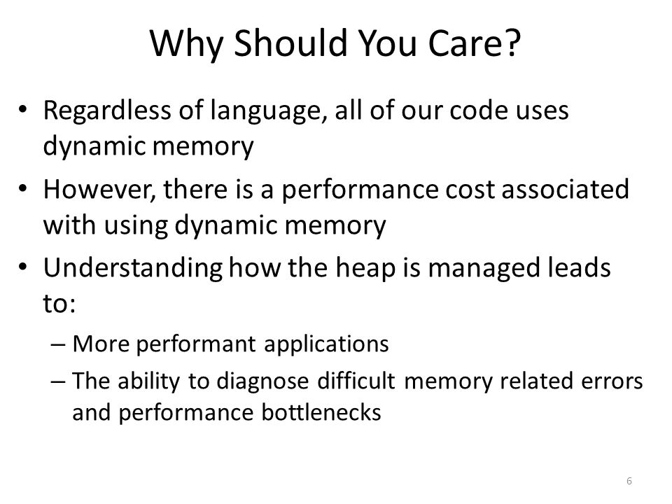 Key Challenges Maximizing CPU performance – Keeping track of memory usage requires effort Maximize parallelism – Heap memory is shared across threads – Thus, synchronization may be necessary Minimizing memory overhead – Metadata is needed to track memory usage – This metadata adds to the size of each object Minimize fragmentation – Over time, deallocations create useless gaps in memory 7