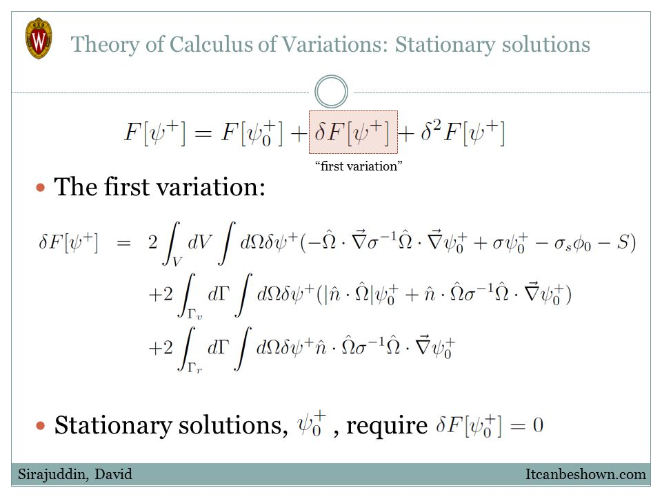 "Theory of Calculus of Variations: Stationary solutions The first variation: Stationary solutions,, require Itcanbeshown.comSirajuddin, David ""first va"