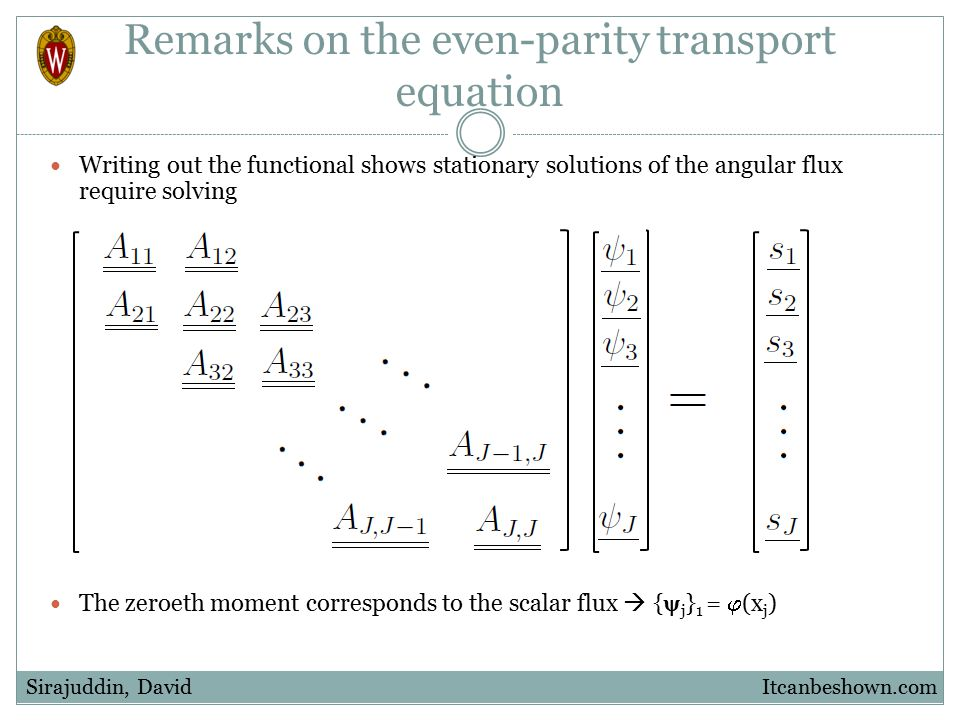 Remarks on the even-parity transport equation Writing out the functional shows stationary solutions of the angular flux require solving The zeroeth mo
