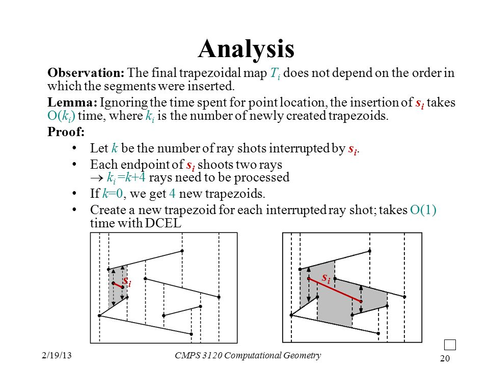2/19/13CMPS 3120 Computational Geometry 20 Analysis Observation: The final trapezoidal map T i does not depend on the order in which the segments were inserted.