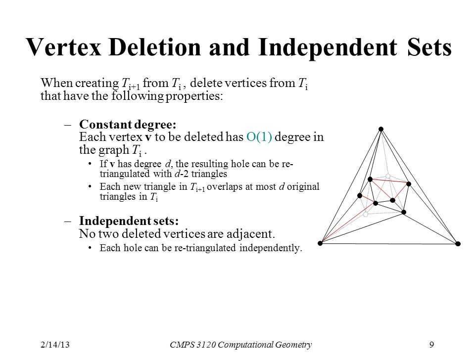 2/14/13CMPS 3120 Computational Geometry9 Vertex Deletion and Independent Sets When creating T i+1 from T i, delete vertices from T i that have the following properties: –Constant degree: Each vertex v to be deleted has O(1) degree in the graph T i.