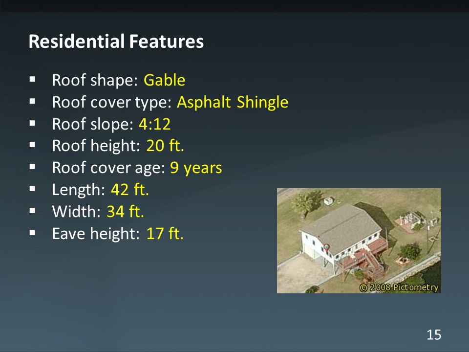15 Residential Features  Roof shape: Gable  Roof cover type: Asphalt Shingle  Roof slope: 4:12  Roof height: 20 ft.