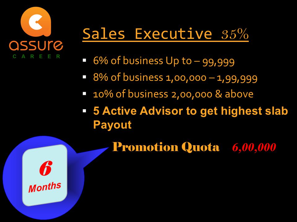  6% of business Up to – 99,999  8% of business 1,00,000 – 1,99,999  10% of business 2,00,000 & above  5 Active Advisor to get highest slab Payout Sales Executive 35% Promotion Quota 6,00,000