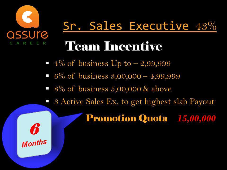  4% of business Up to – 2,99,999  6% of business 3,00,000 – 4,99,999  8% of business 5,00,000 & above  3 Active Sales Ex.