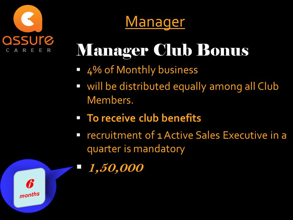  4% of Monthly business  will be distributed equally among all Club Members.  To receive club benefits  recruitment of 1 Active Sales Executive in