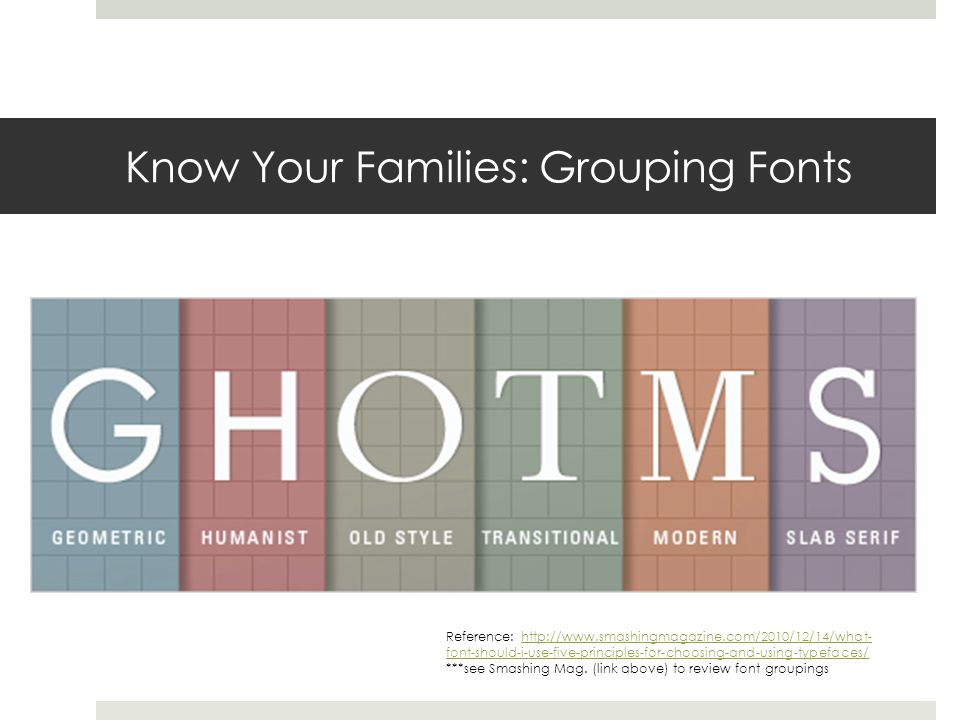 Know Your Families: Grouping Fonts Reference: http://www.smashingmagazine.com/2010/12/14/what- font-should-i-use-five-principles-for-choosing-and-using-typefaces/http://www.smashingmagazine.com/2010/12/14/what- font-should-i-use-five-principles-for-choosing-and-using-typefaces/ ***see Smashing Mag.