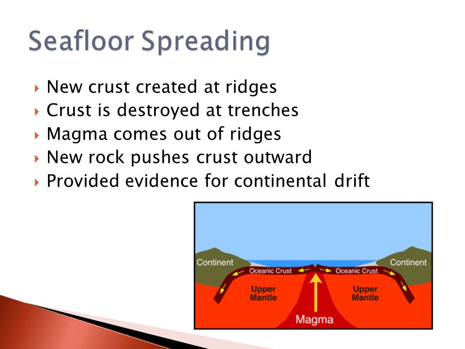  New crust created at ridges  Crust is destroyed at trenches  Magma comes out of ridges  New rock pushes crust outward  Provided evidence for con