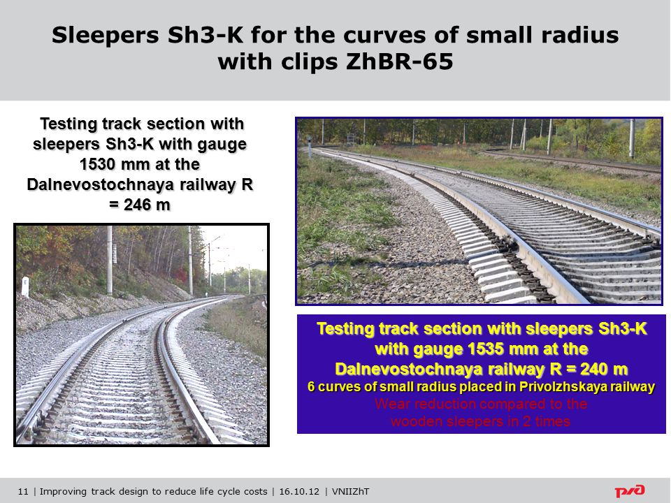 Sleepers Sh3-K for the curves of small radius with clips ZhBR-65 Testing track section with sleepers Sh3-K with gauge 1530 mm at the Dalnevostochnaya railway R = 246 m Testing track section with sleepers Sh3-K with gauge 1530 mm at the Dalnevostochnaya railway R = 246 m Testing track section with sleepers Sh3-K with gauge 1535 mm at the Dalnevostochnaya railway R = 240 m 6 curves of small radius placed in Privolzhskaya railway Wear reduction compared to the wooden sleepers in 2 times 11 | Improving track design to reduce life cycle costs | 16.10.12 | VNIIZhT