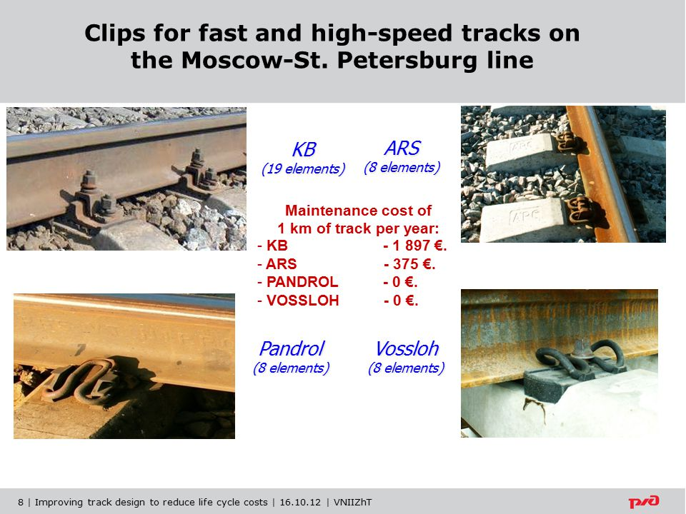 Ensure the strength and stability of tracks with continuous welded rails during the life cycle Remote monitoring of the rails with independent measurement systems with function of the track work analysis 9 | Improving track design to reduce life cycle costs | 16.10.12 | VNIIZhT