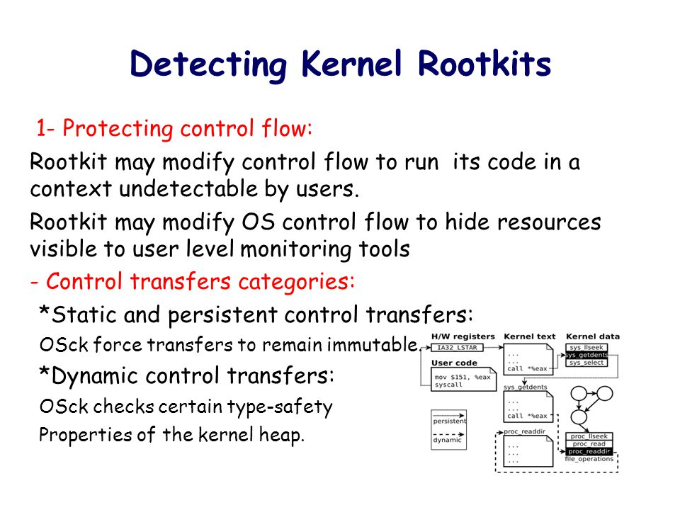 Detecting Kernel Rootkits 2- Protecting non-control data: Rootkit may conceal system resources from the user by modifying non-control data in the kernel heap.