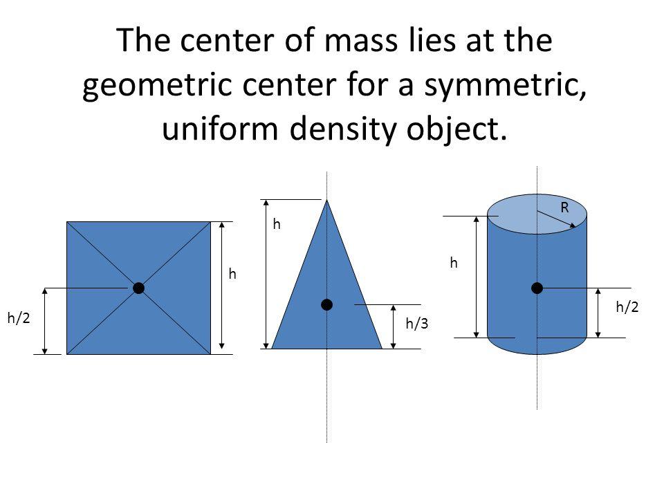 The center of mass lies at the geometric center for a symmetric, uniform density object. h/3 h R h/2 h h