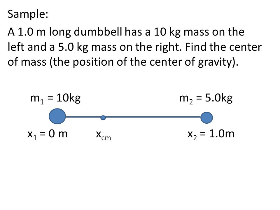 Sample: A 1.0 m long dumbbell has a 10 kg mass on the left and a 5.0 kg mass on the right. Find the center of mass (the position of the center of grav