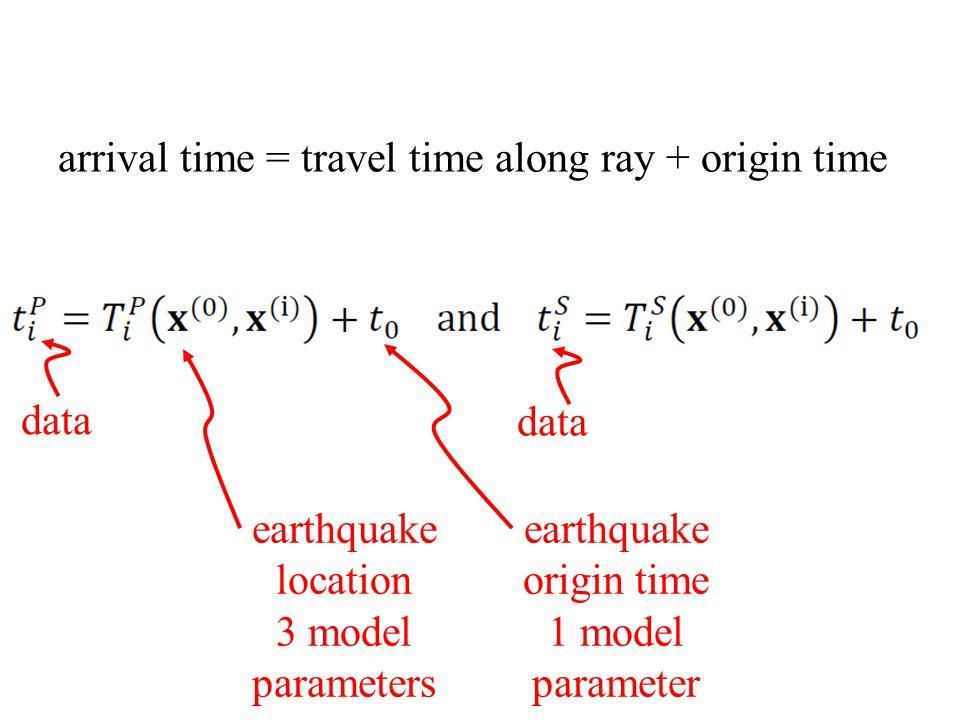 data earthquake location 3 model parameters earthquake origin time 1 model parameter