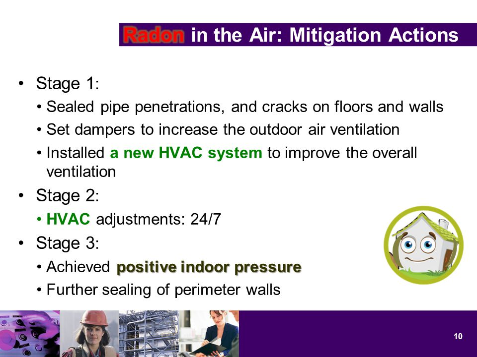 Stage 1 : Sealed pipe penetrations, and cracks on floors and walls Set dampers to increase the outdoor air ventilation Installed a new HVAC system to improve the overall ventilation Stage 2 : HVAC adjustments: 24/7 Stage 3 : positive indoor pressureAchieved positive indoor pressure Further sealing of perimeter walls 10