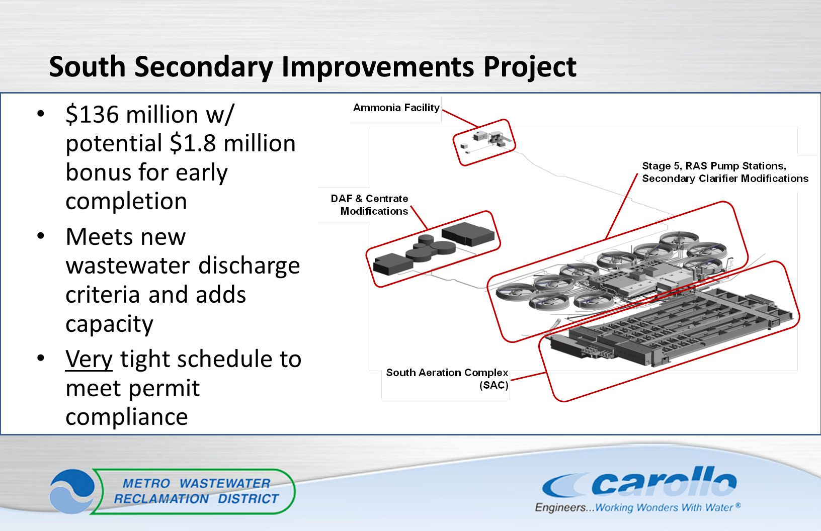$136 million w/ potential $1.8 million bonus for early completion Meets new wastewater discharge criteria and adds capacity Very tight schedule to mee