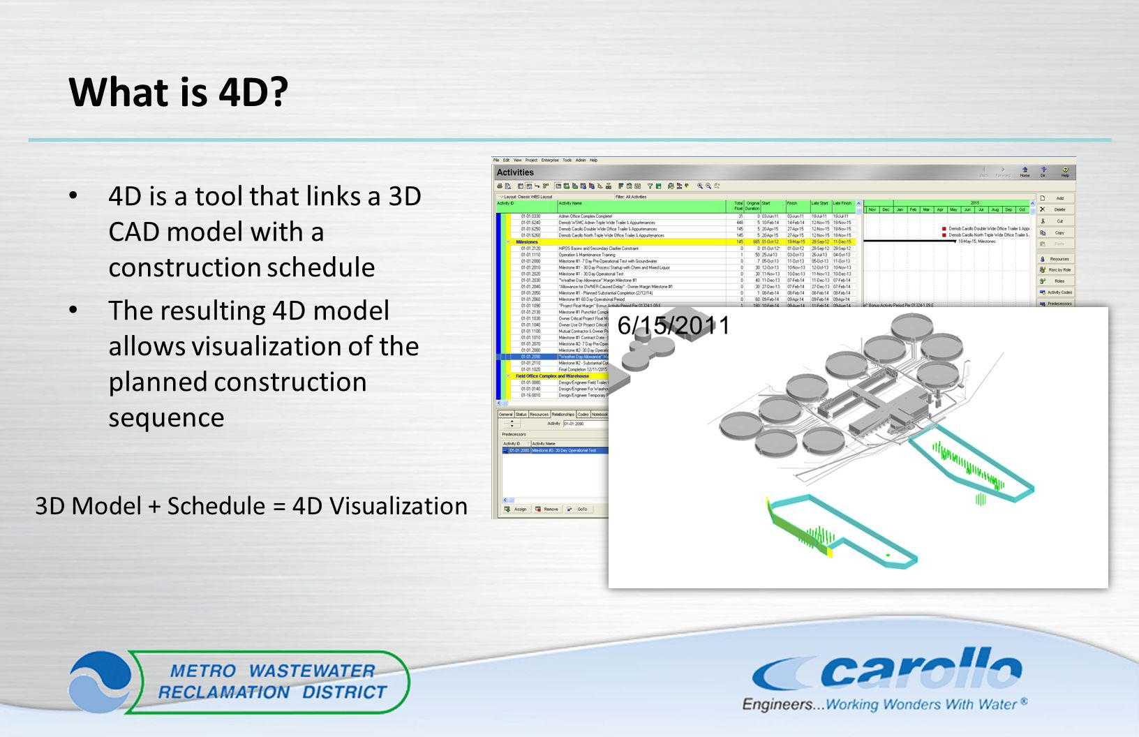 What is 4D? 4D is a tool that links a 3D CAD model with a construction schedule The resulting 4D model allows visualization of the planned constructio