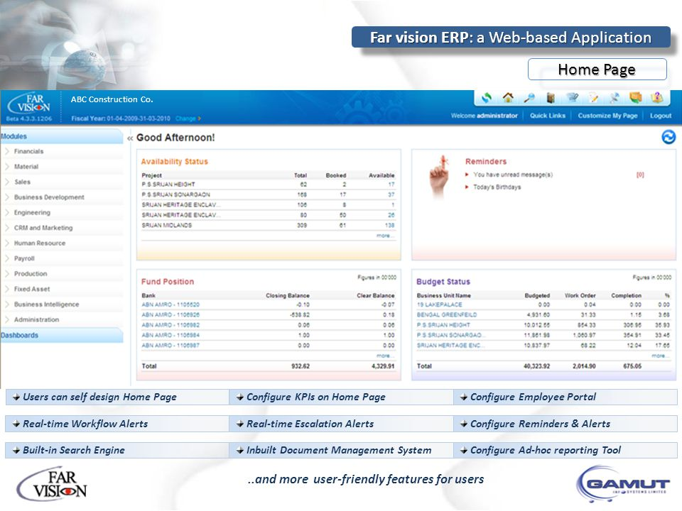 Far vision ERP: a Web-based Application..and more user-friendly features for users Users can self design Home Page Configure KPIs on Home Page Configu