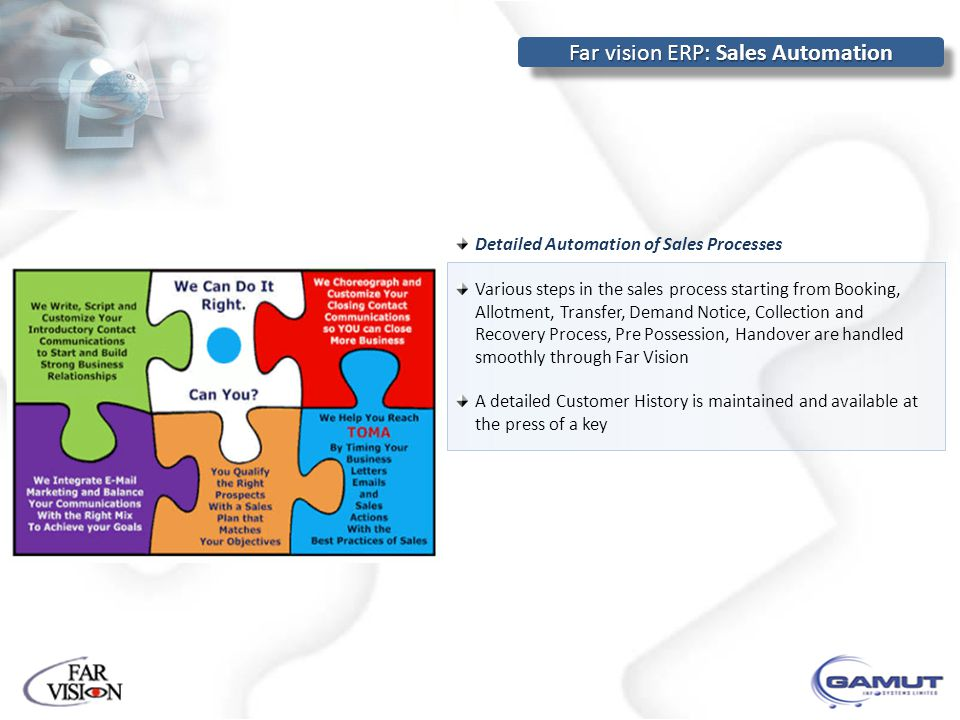 Detailed Automation of Sales Processes Various steps in the sales process starting from Booking, Allotment, Transfer, Demand Notice, Collection and Recovery Process, Pre Possession, Handover are handled smoothly through Far Vision A detailed Customer History is maintained and available at the press of a key Far vision ERP: Sales Automation